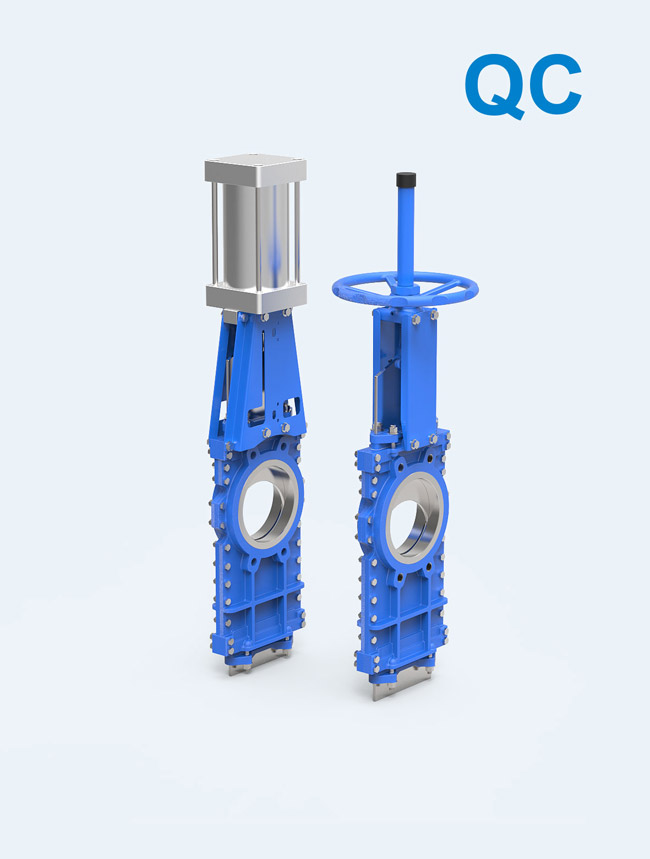 【QC series】</br>  Bi-directional seal Knife Gate Valve Valve/Disc Through type for paper, asphalt, tailings, slagging, cement, slime