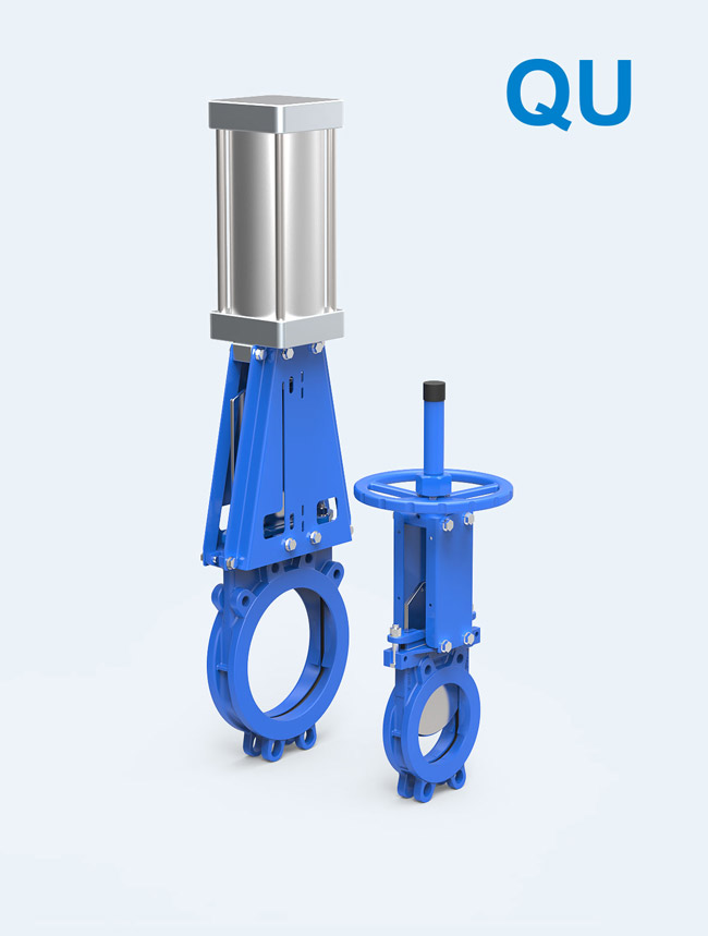 【QU series】</br>  1PC Body Bi-directional seal Knife Gate Valve Groveless for sewage treatment, paper, sedimentation tanks, mud and so on.